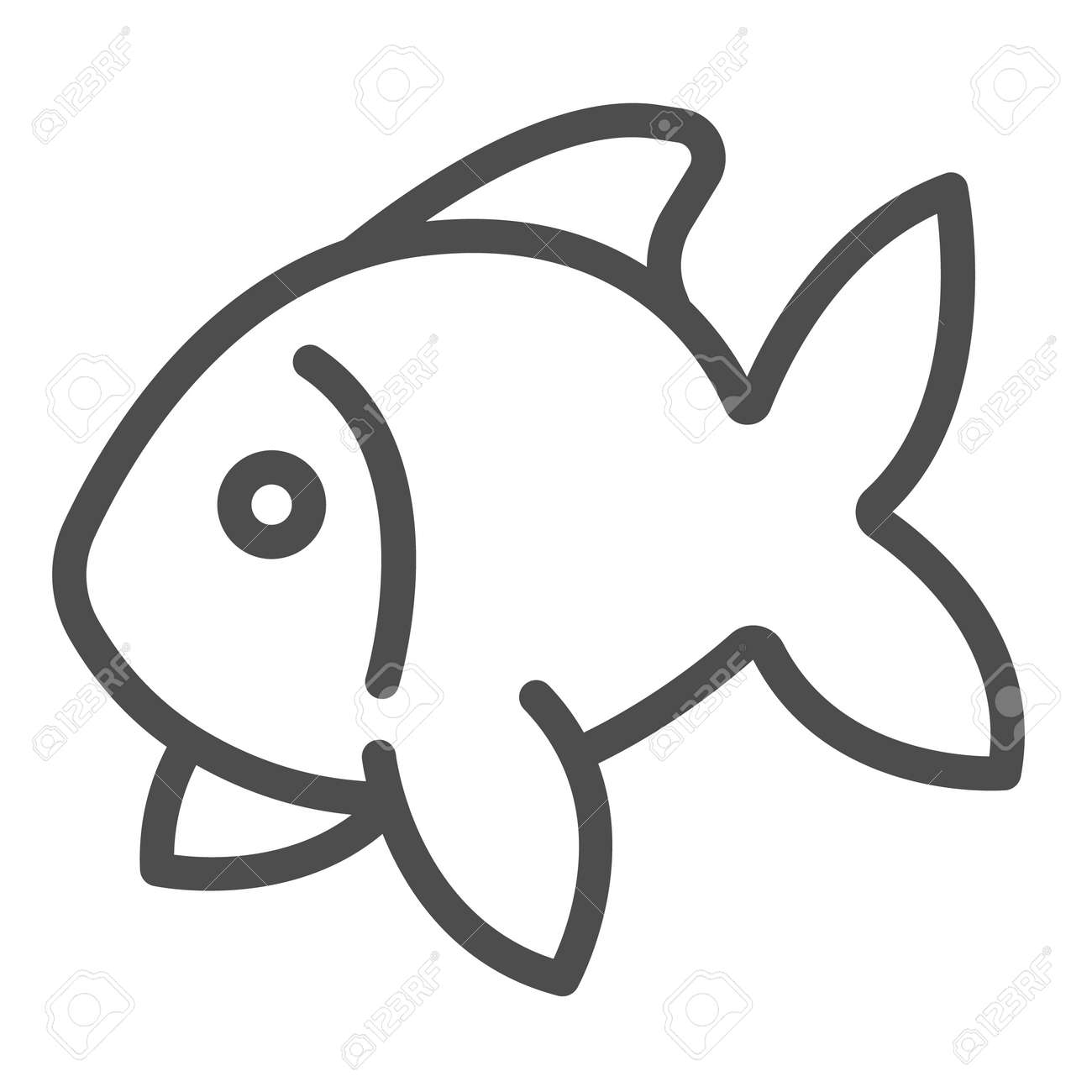 Fish, goldfish, aquarium tropical fish line icon, sea life concept, carp vector sign on white background, outline style icon for mobile concept and web design. Vector graphics. - 173433671