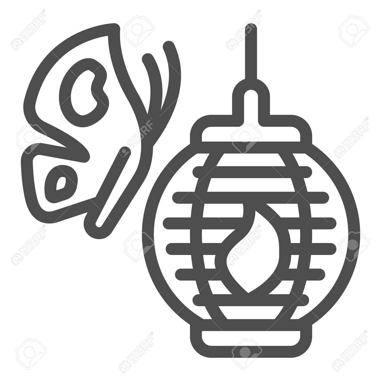 Butterfly and Japanese paper lantern line icon, asian culture concept, chinese lamp vector sign on white background, outline style icon for mobile concept and web design. Vector graphics. - 173432498