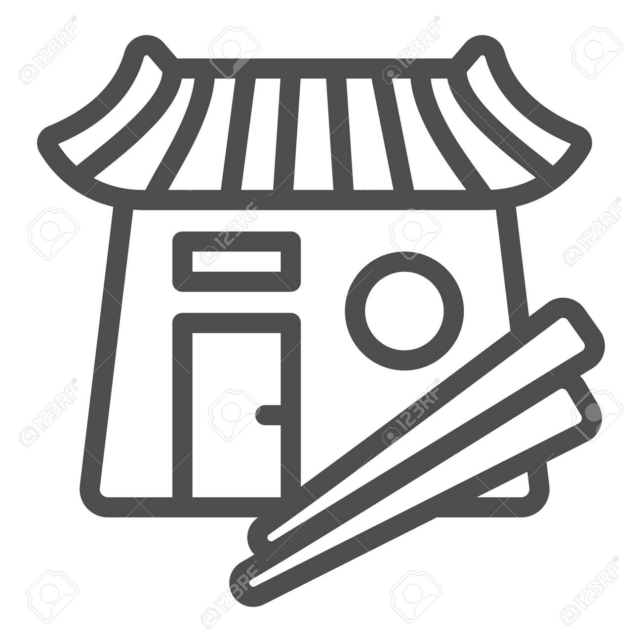 Sushi bar, japanese food, restaurant, chopsticks line icon, asian food concept, Japan vector sign on white background, outline style icon for mobile concept and web design. Vector graphics. - 173432500