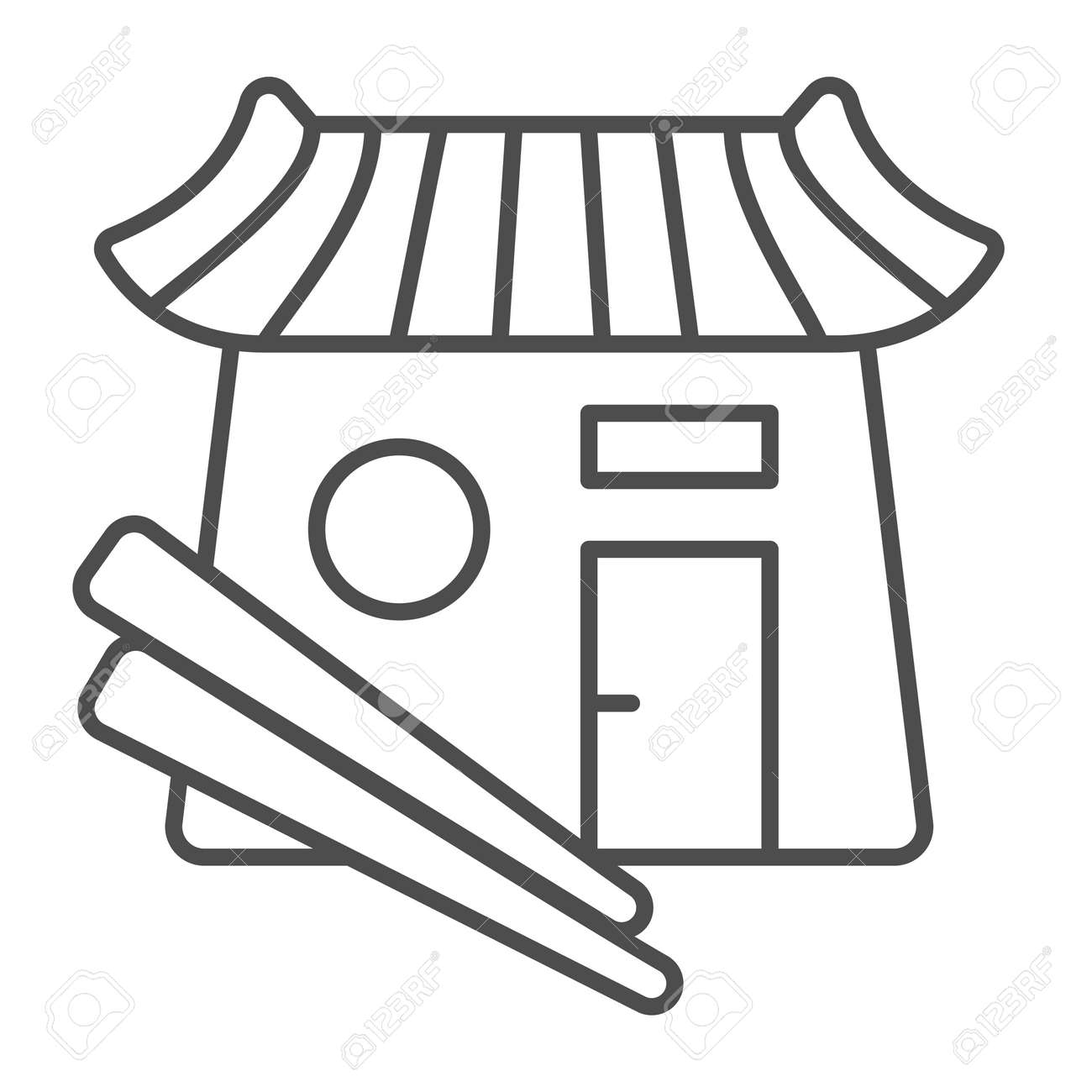 Sushi bar, japanese food, restaurant, chopsticks thin line icon, asian food concept, Japan vector sign on white background, outline style icon for mobile concept and web design. Vector graphics. - 173432502