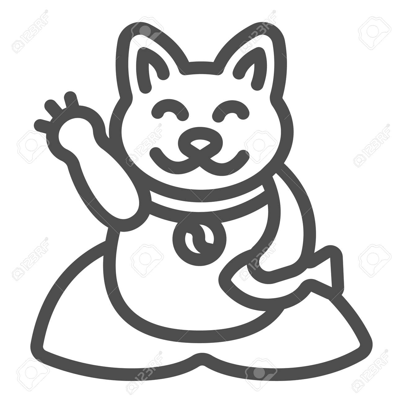 Japanese cat luck souvenir on pillow line icon, asian culture concept, maneki neko vector sign on white background, outline style icon for mobile concept and web design. Vector graphics. - 173432520