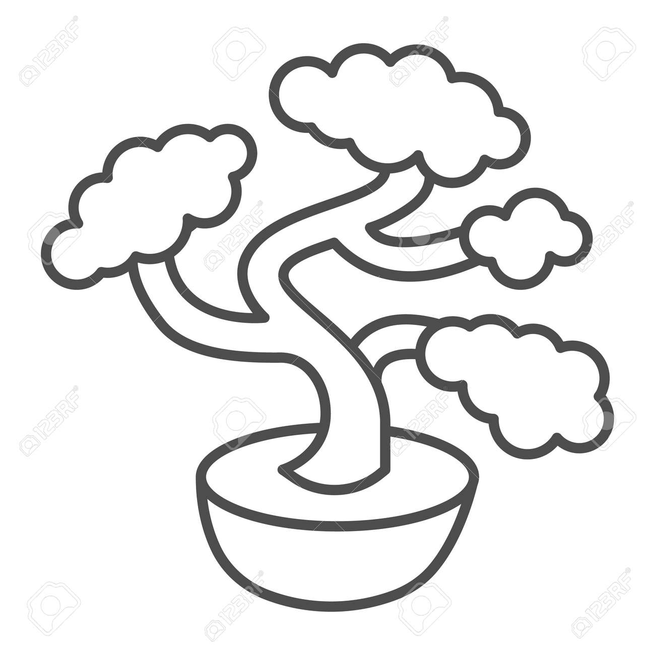 Bonsai tree, potted plant thin line icon, asian culture concept, Japanese miniature tree vector sign on white background, outline style icon for mobile concept and web design. Vector graphics. - 173432523