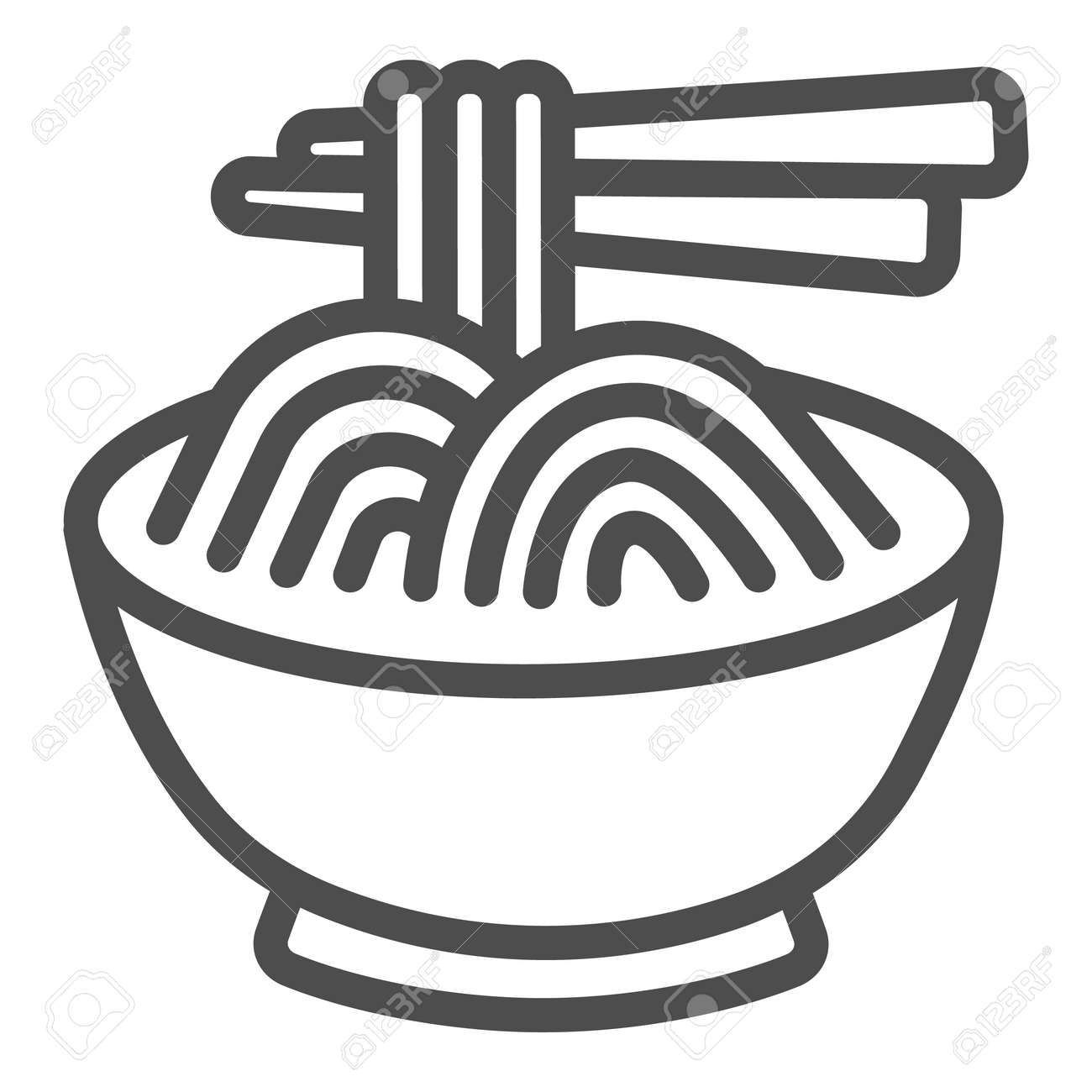 Noodles in a bowl and chopsticks line icon, asian food concept, spaghetti vector sign on white background, outline style icon for mobile concept and web design. Vector graphics. - 173432526