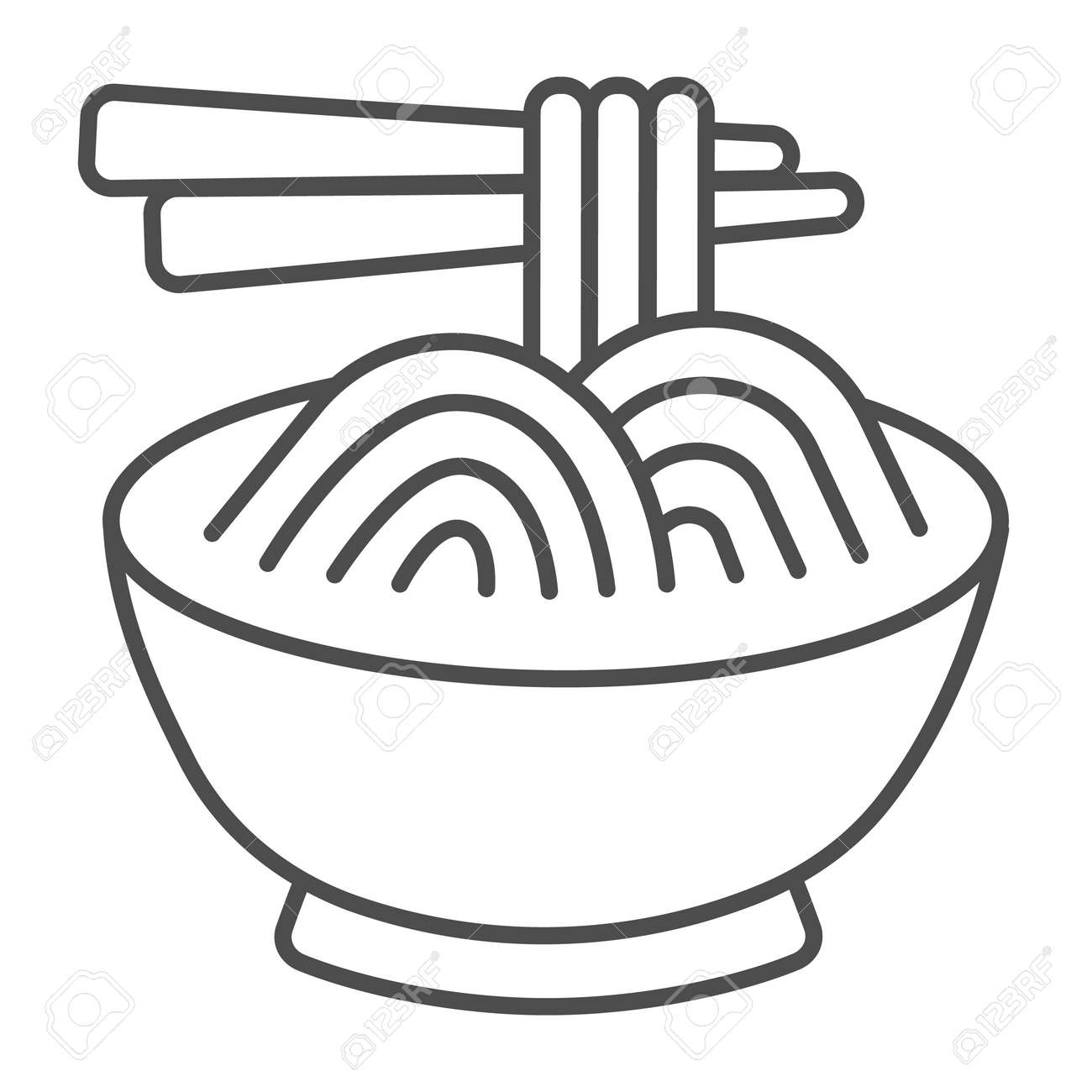 Noodles in a bowl and chopsticks thin line icon, asian food concept, spaghetti vector sign on white background, outline style icon for mobile concept and web design. Vector graphics. - 173432527