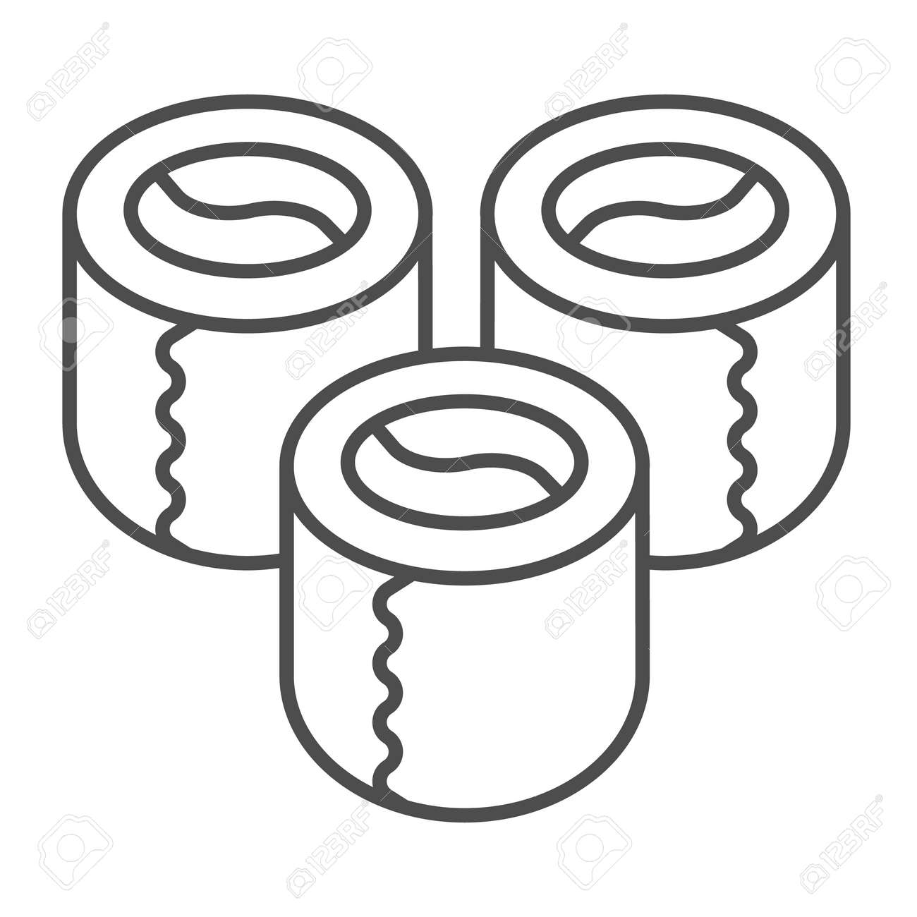 Sushi, rolls, three pieces thin line icon, asian food concept, Japanese cuisine vector sign on white background, outline style icon for mobile concept and web design. Vector graphics. - 173432543