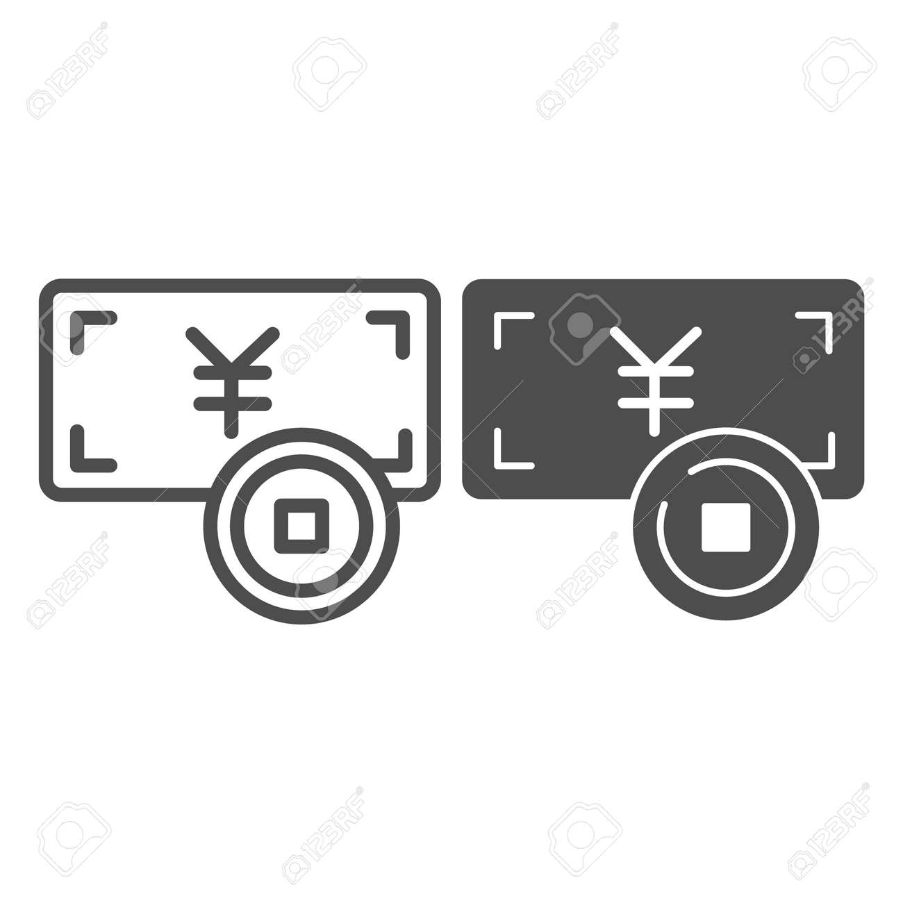 Yen paper note and coin, jpy money line and solid icon, asian culture concept, japan currency vector sign on white background, outline style icon for mobile concept and web design. Vector graphics. - 173432546