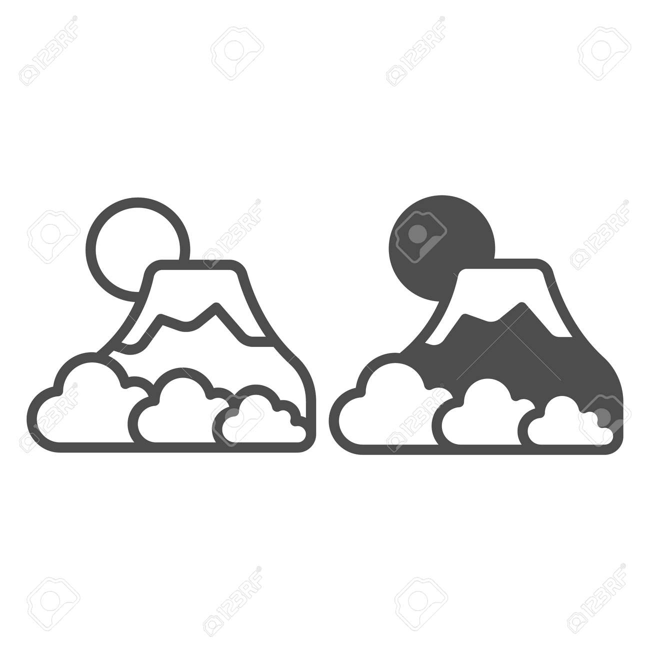 Mount Fuji with fog, sun and snow, volcano line and solid icon, asian culture concept, mountain vector sign on white background, outline style icon for mobile concept and web design. Vector graphics. - 173432547