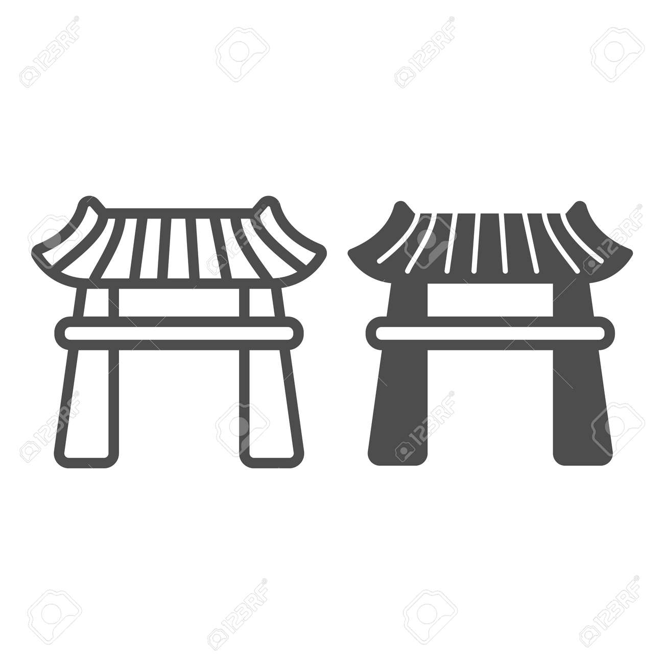 Japanese gazebo with roof, lotus pavillion line and solid icon, architecture concept, garden vector sign on white background, outline style icon for mobile concept and web design. Vector graphics. - 173432551