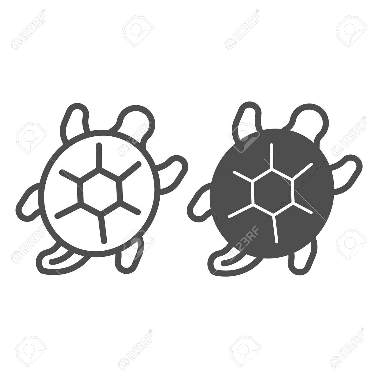 Sea turtle line and solid icon, sea life concept, marine reptile vector sign on white background, outline style icon for mobile concept and web design. Vector graphics. - 173432566