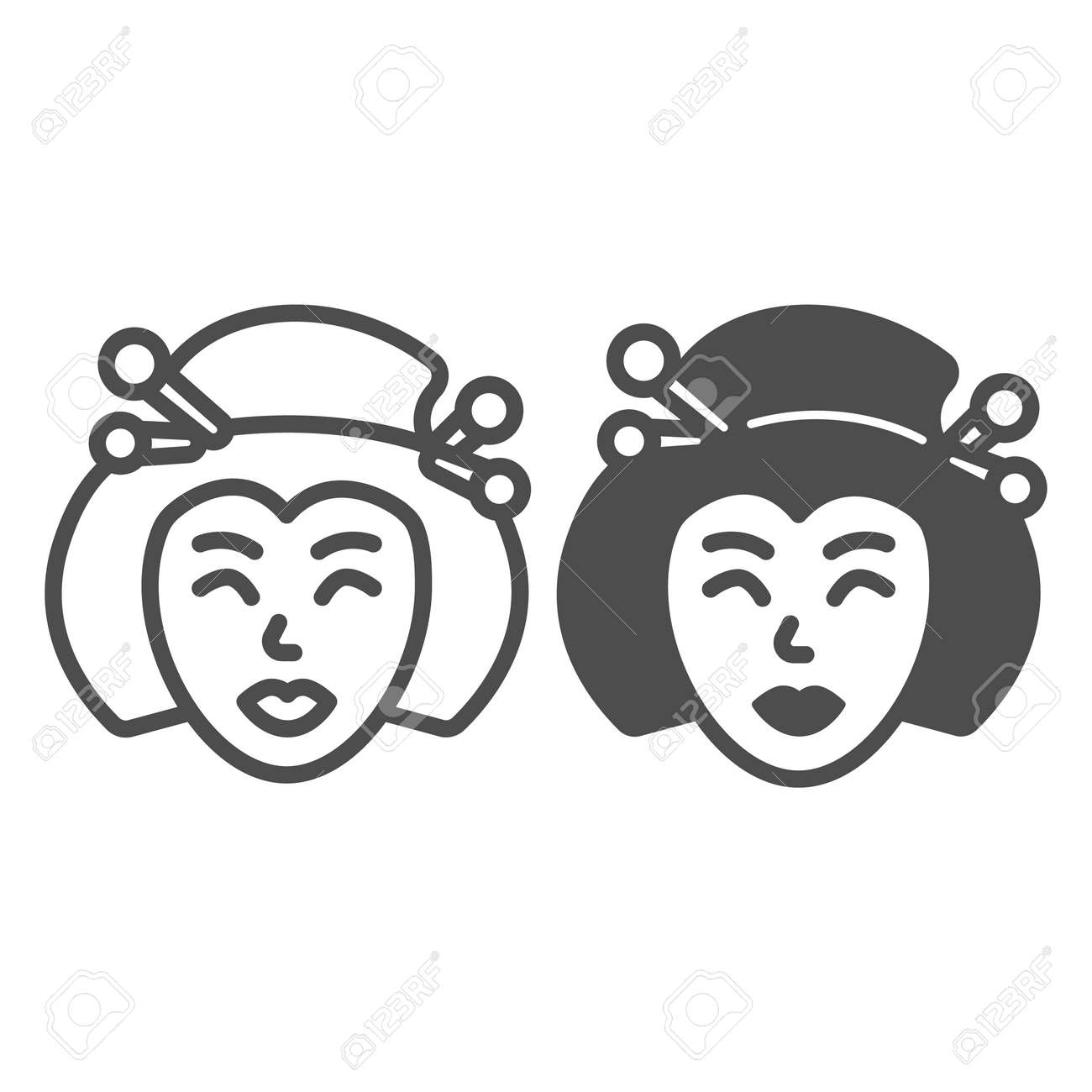 Geisha, Japanese woman traditional hairstyle line and solid icon, asian culture concept, face vector sign on white background, outline style icon for mobile concept and web design. Vector graphics. - 173433548