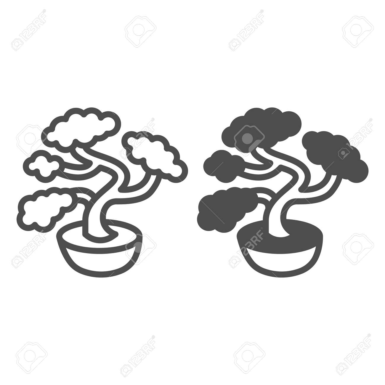 Bonsai tree, potted plant line and solid icon, asian culture concept, Japanese miniature tree vector sign on white background, outline style icon for mobile concept and web design. Vector graphics. - 173433549