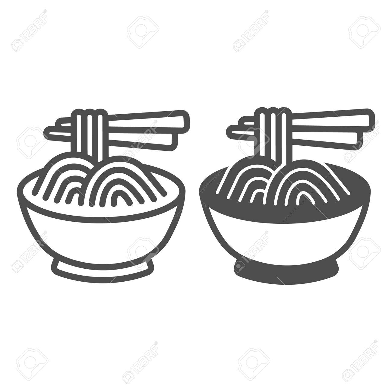 Noodles in a bowl and chopsticks line and solid icon, asian food concept, spaghetti vector sign on white background, outline style icon for mobile concept and web design. Vector graphics. - 173433555
