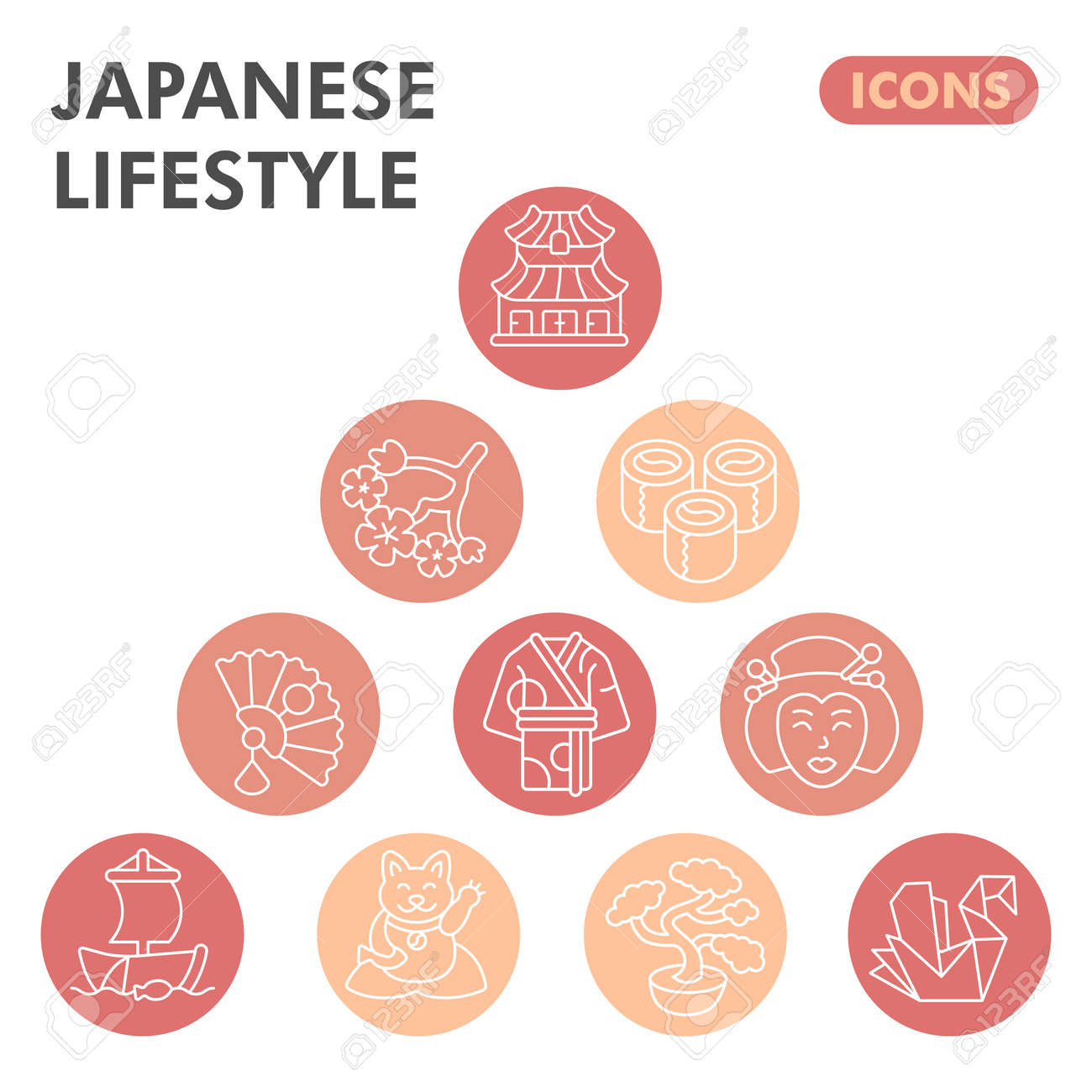 Modern japanese lifestyle Infographic design template. Asian culture inphographic visualization with ten steps circle design on orange background. Oriental template for presentation. Creative vector. - 173433556