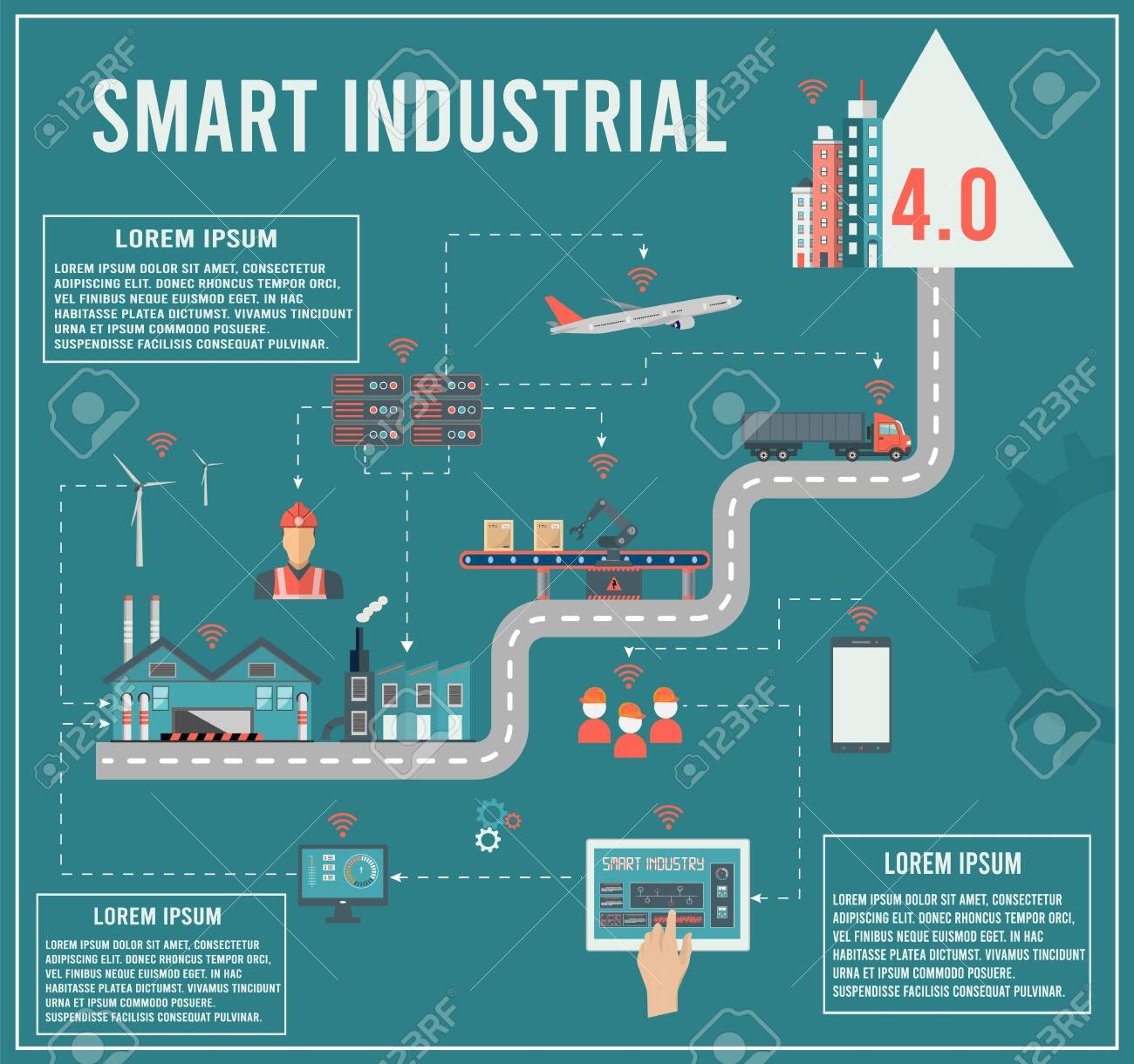 Smart industry 4.0 info graphic with Smart Manufacturing and Artificial intelligence concept. Vector illustration. - 151214564