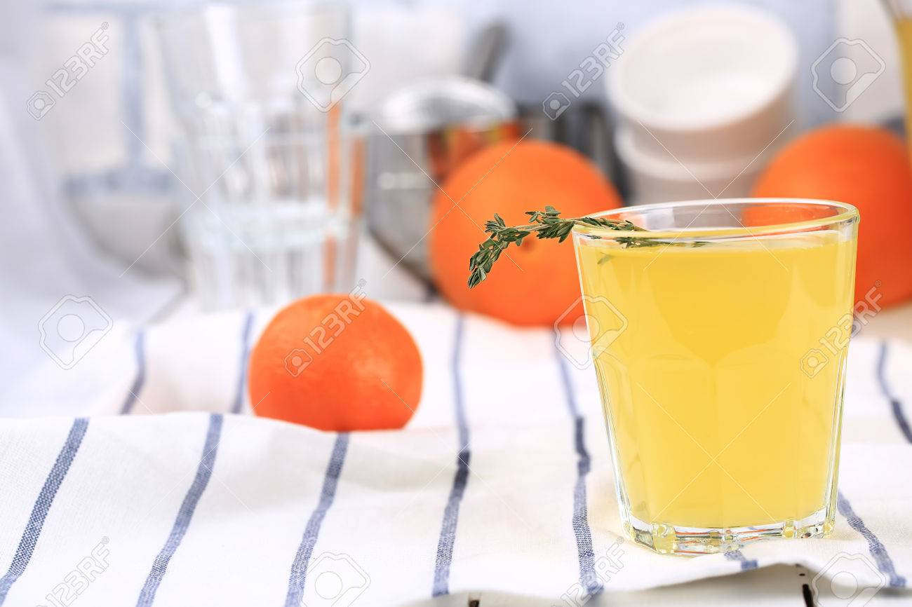 Orange Juice White Kitchen Table Rustic Summer Background Stock Photo