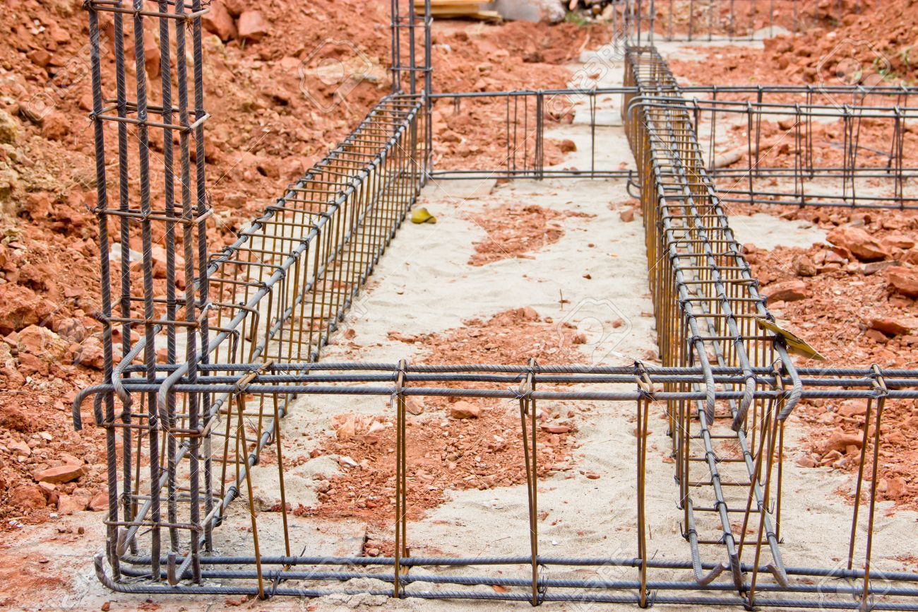 Steel deformed bars. Image shows the structure of cast concrete beams. Stock Photo - 12535736