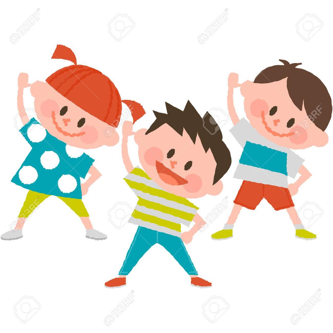 Cartoon Kids Exercising Royalty Free Cliparts Vectors And Stock Illustration Image 72142634