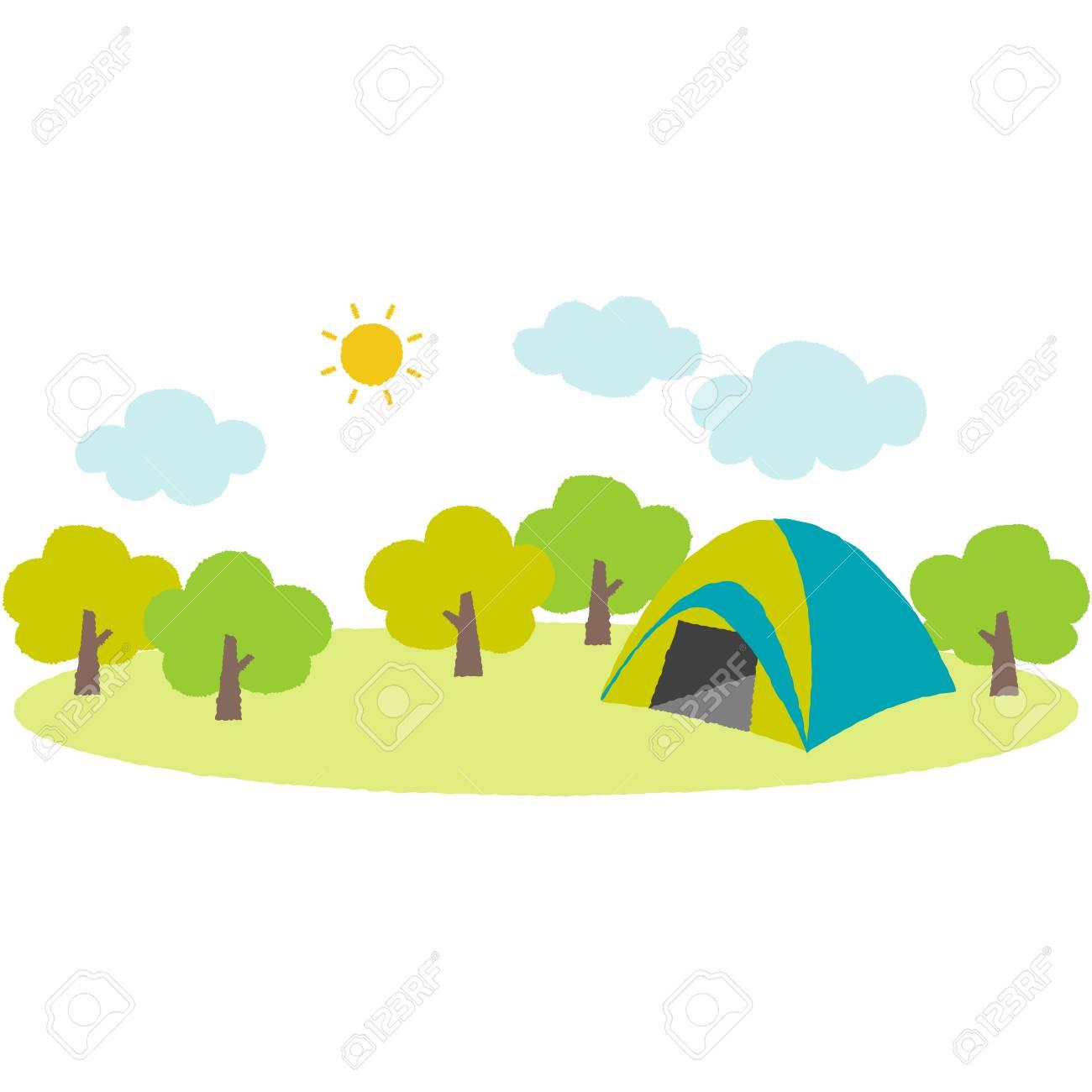 山のキャンプ場のかわいいイラストのイラスト素材ベクタ Image 72501233