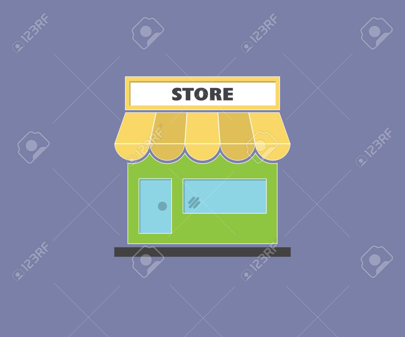 Clip art illustration of colorful grocery store, supermarket - 146834834