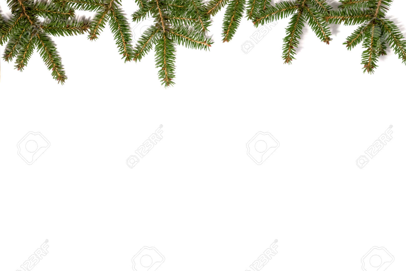 Christmas frame made of fir branches. Flat lay. - 157968399
