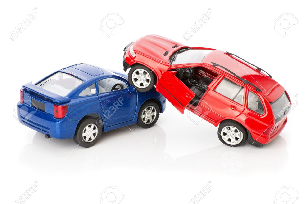 two cars accident crash on road and approaching police, insurance case, broken toys auto car - 51672247