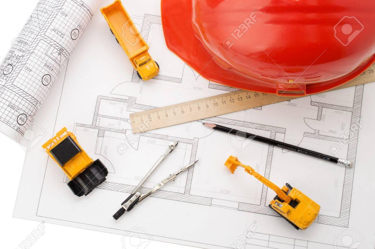 Orange helmet ruler pencil drawing construction equipment