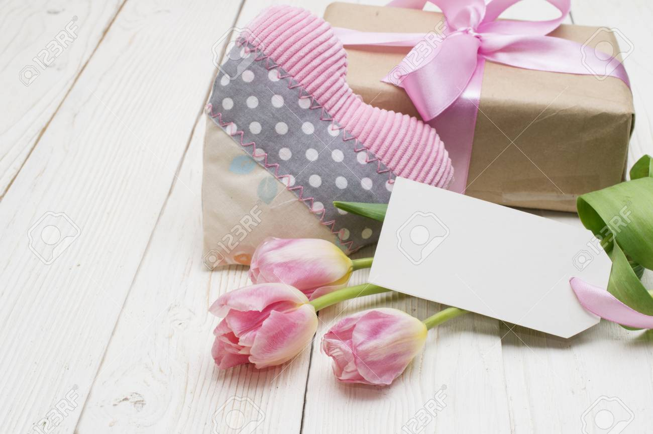 Beautiful Tulips With Gift Box. Happy Mothers Day, Romantic Still ...