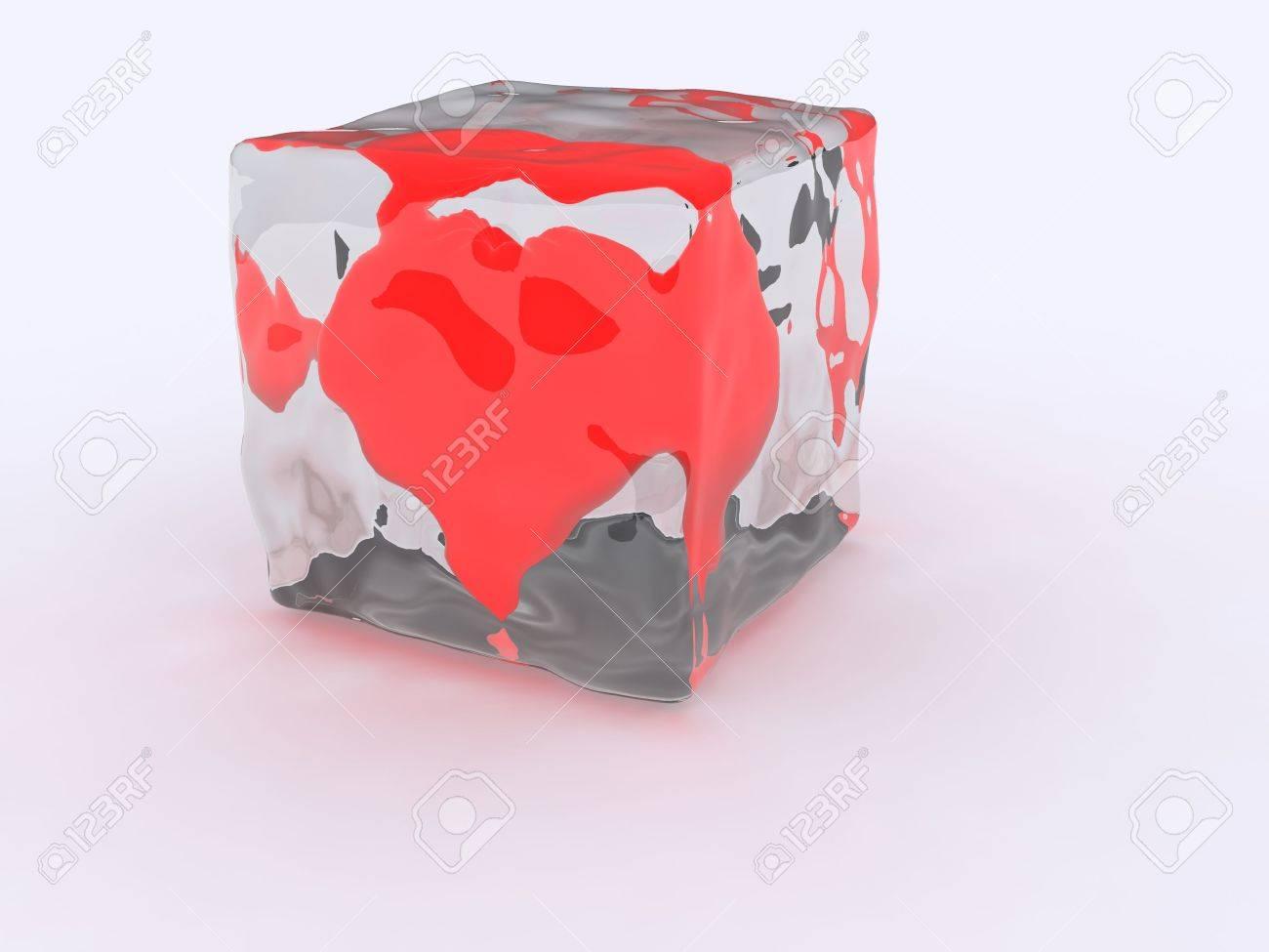 3d ice cube heart frozen Stock Photo - 2471858