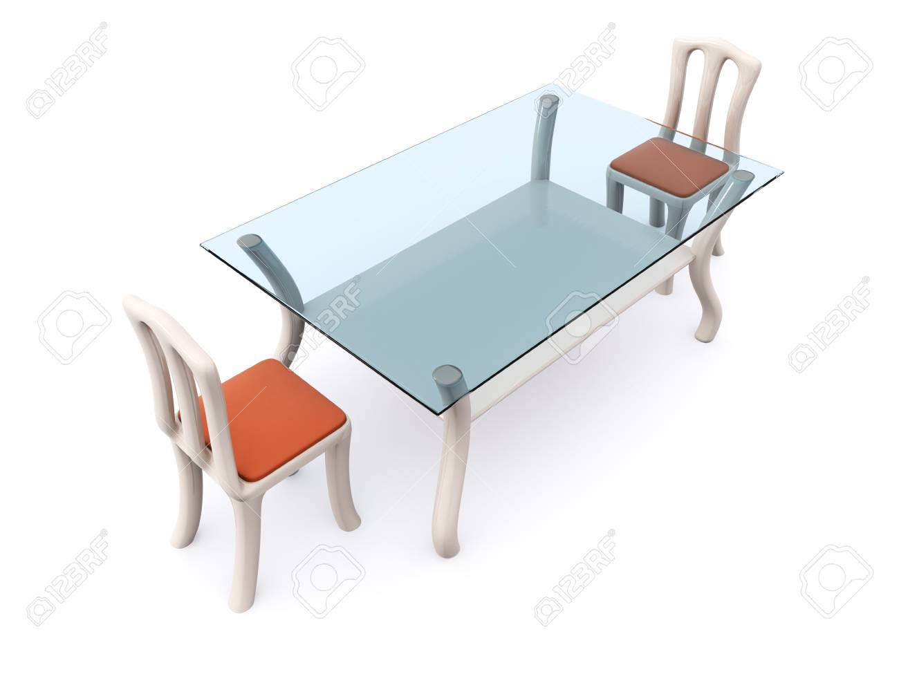glass dining table with two chairs. 3d Stock Photo - 6406077
