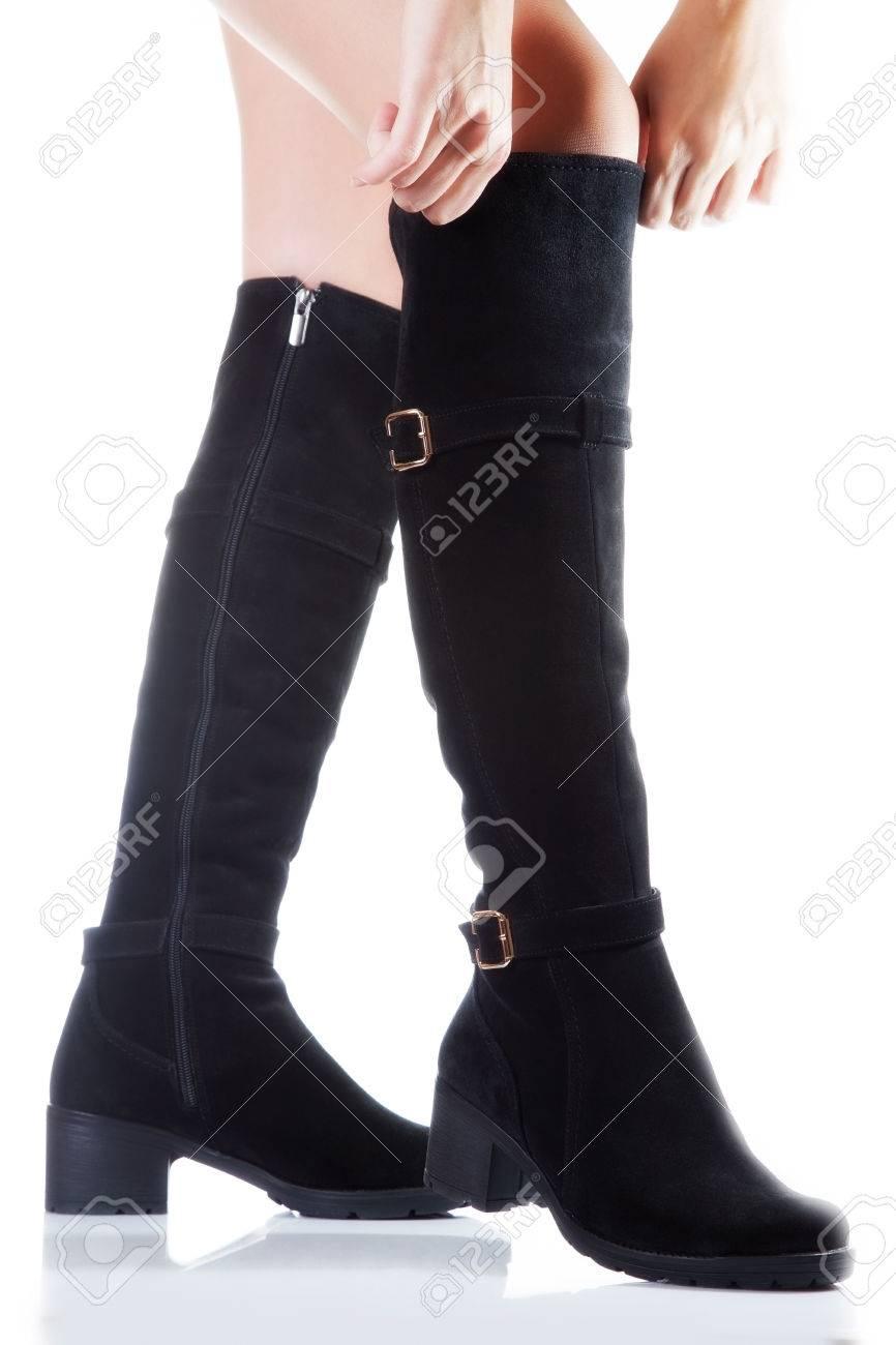 Beautiful Female Legs In Black Suede