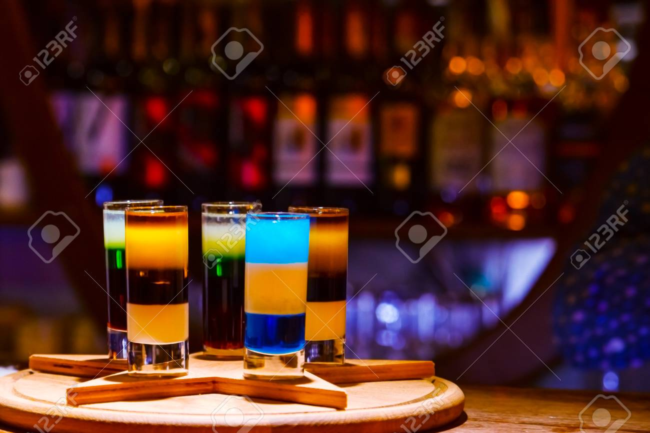 Colorful Alcohol Shot Drinks On Bar Cocktail Stock Photo Picture