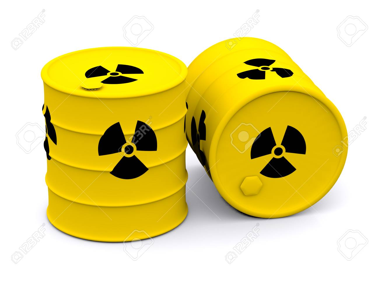 Yellow Barrels With Radioactive Waste 3d Stock Photo Picture And