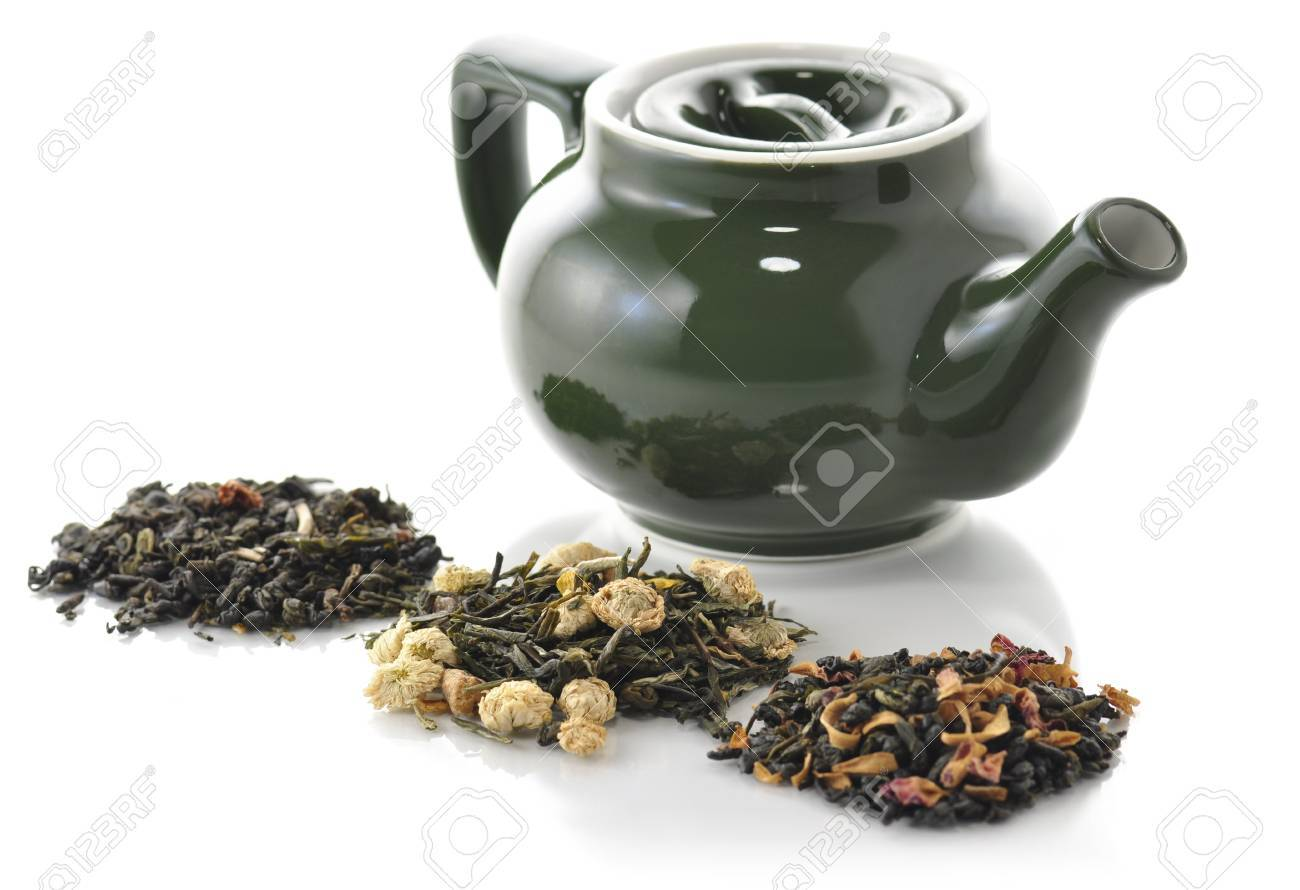 teapot and variety of loose tea Stock Photo - 8895700