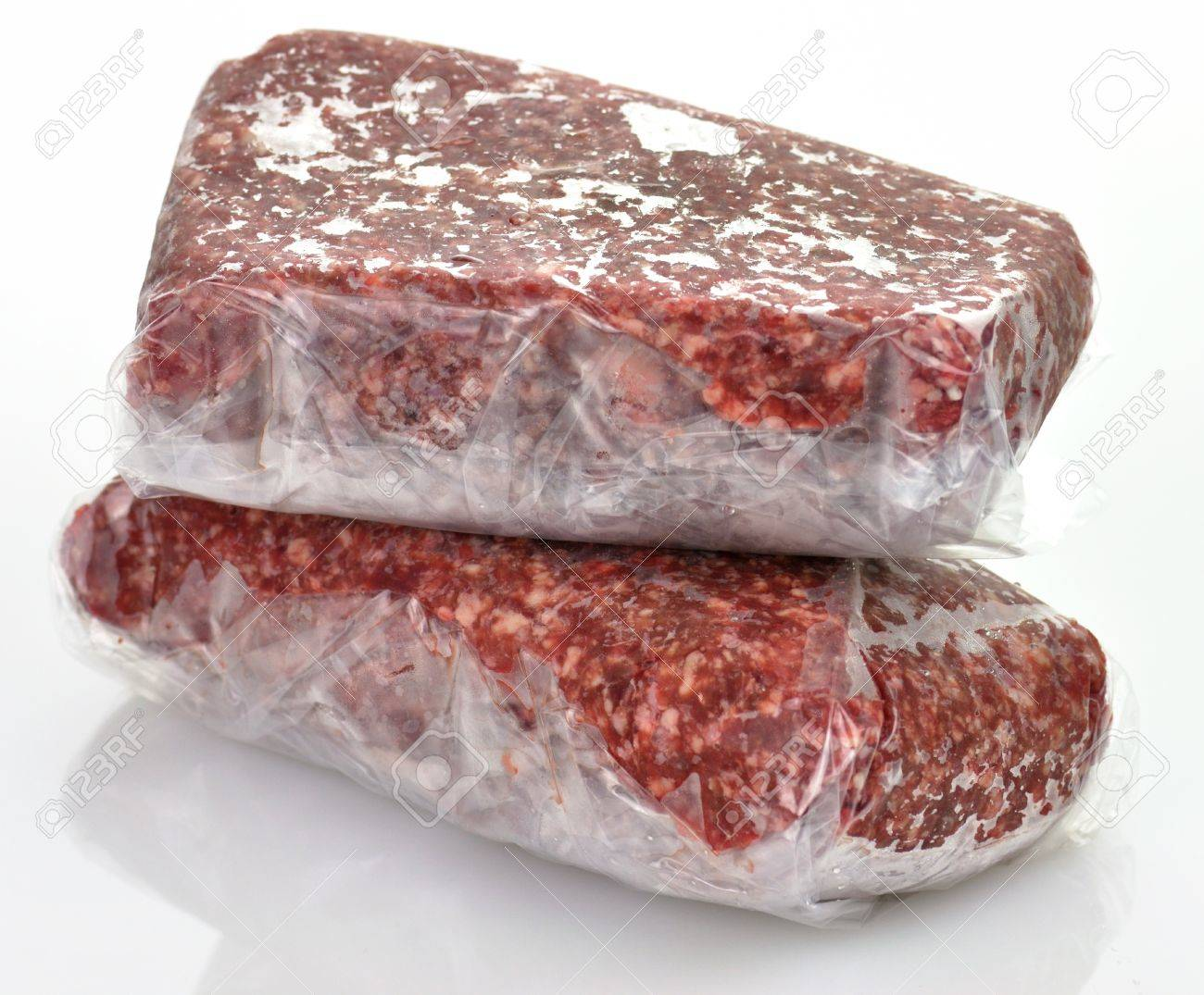 frozen ground meat in plastic package, close up Stock Photo - 9462960