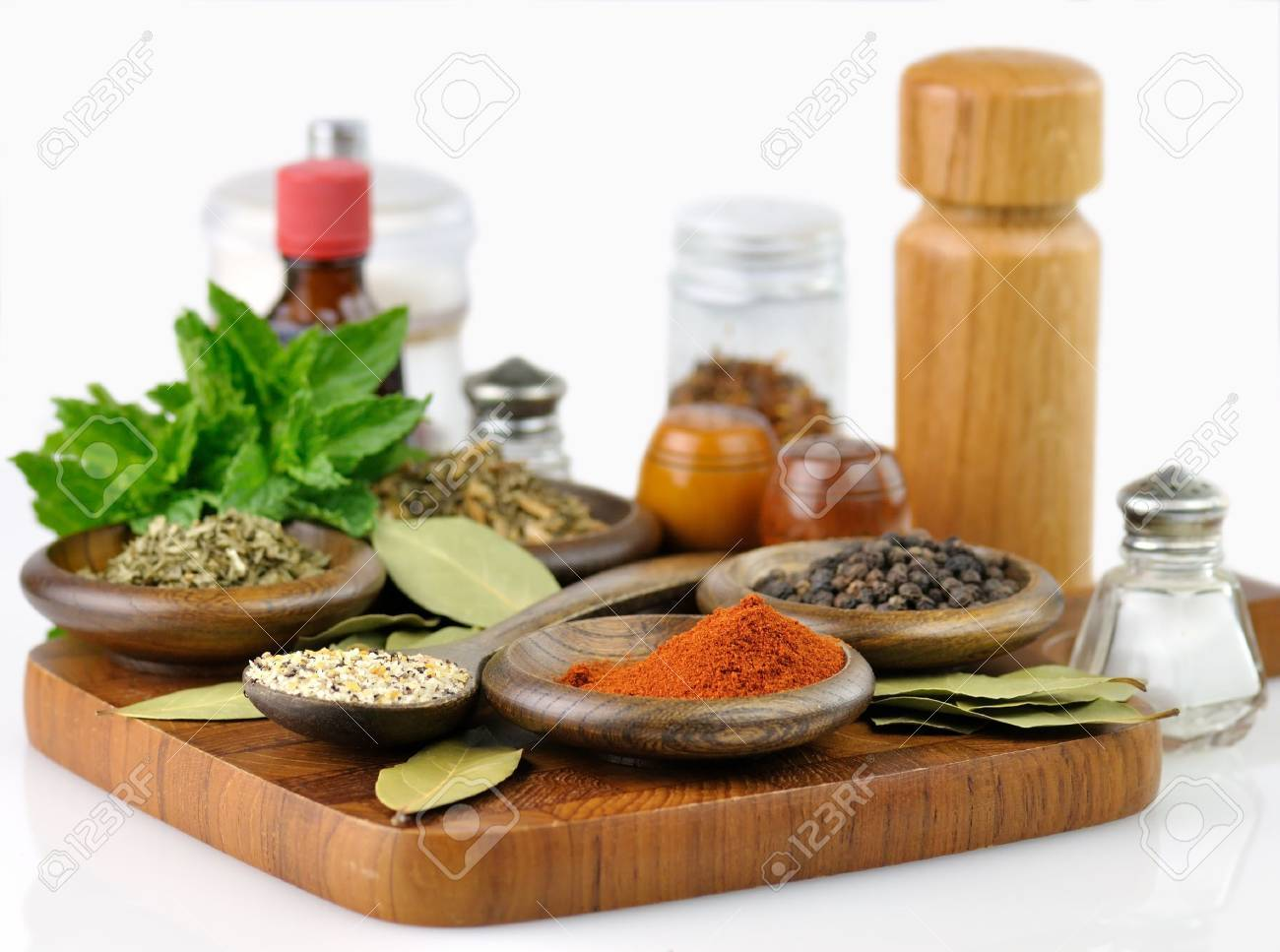 spices arrangement on a wooden board , close up Stock Photo - 9834484