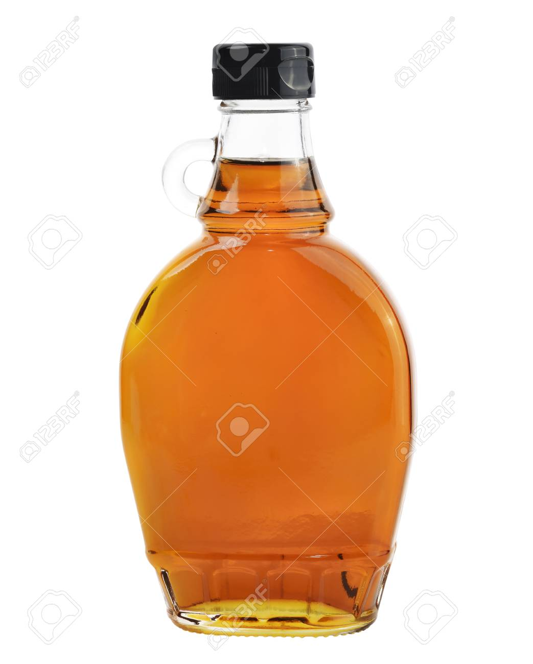 4a66599f4d6 Bottle Of Natural Maple Syrup Isolated On White Background. Stock Photo -  28069315