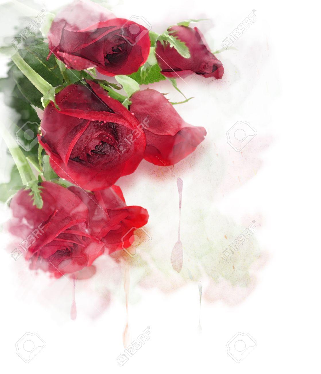 Peinture Rouge Roses Aquarelle Numerique Banque D Images Et Photos