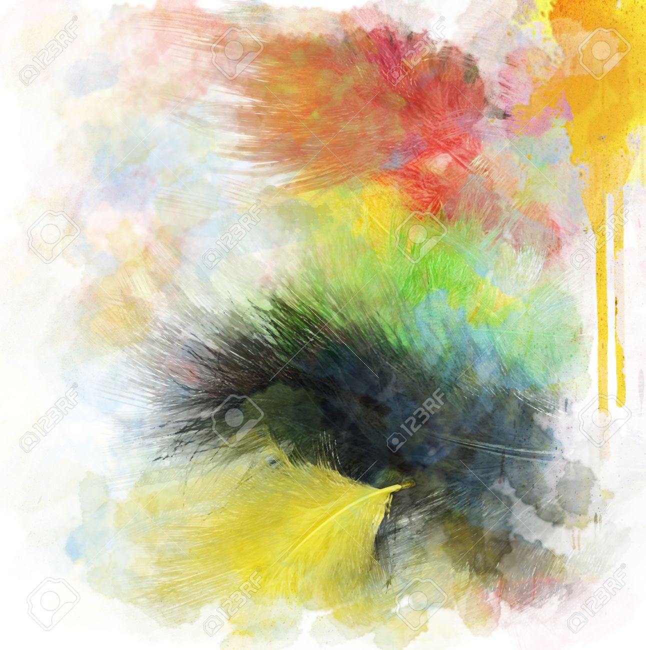 watercolor digital painting of feathers background stock photo