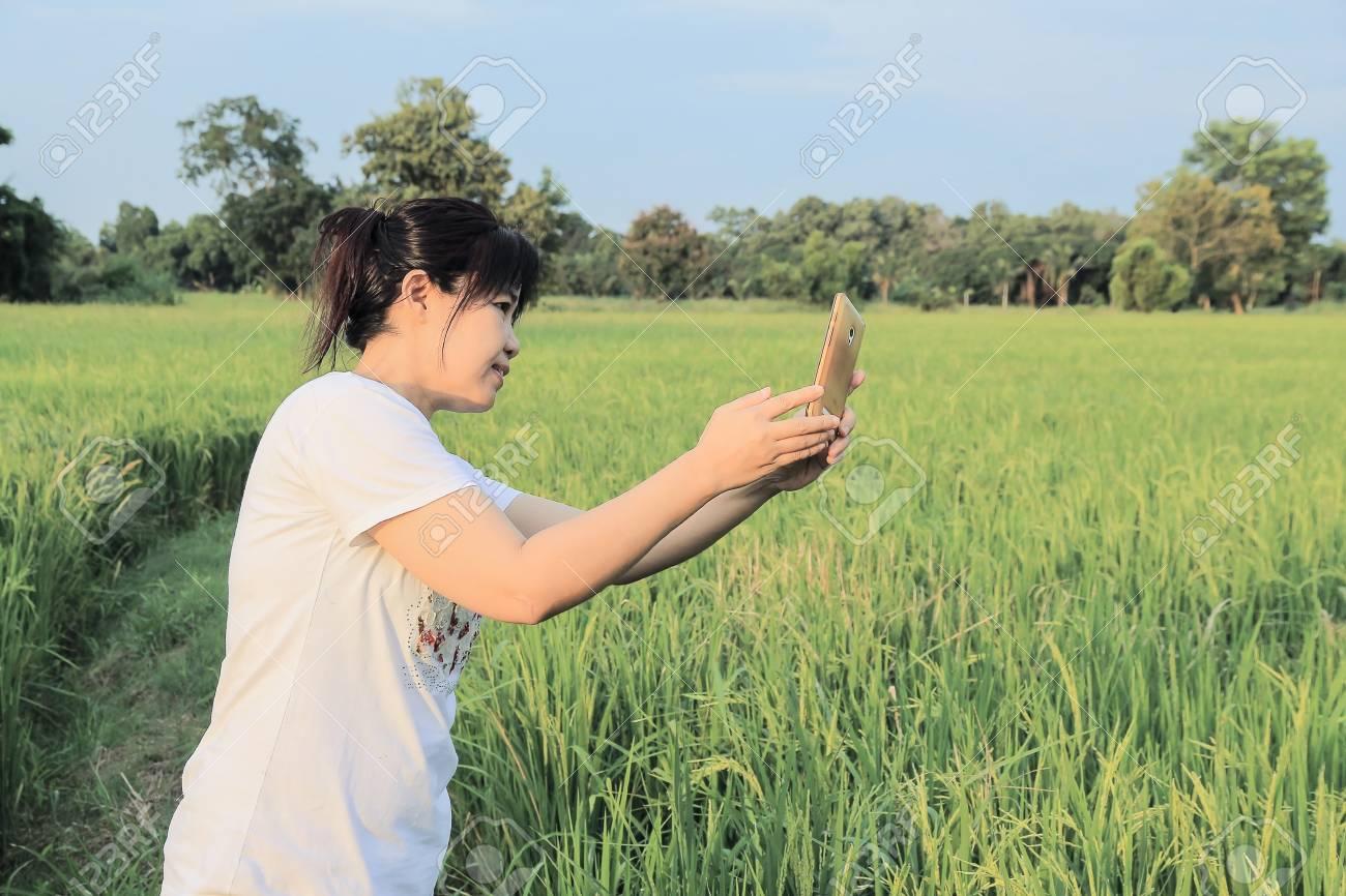 An asian woman filed