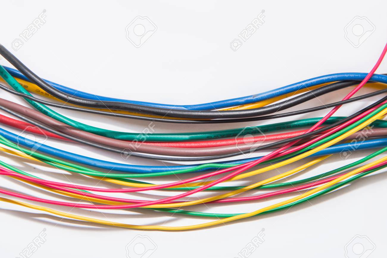 Closeup Of Wire Electric Cable On A White Background,A Jumble ...