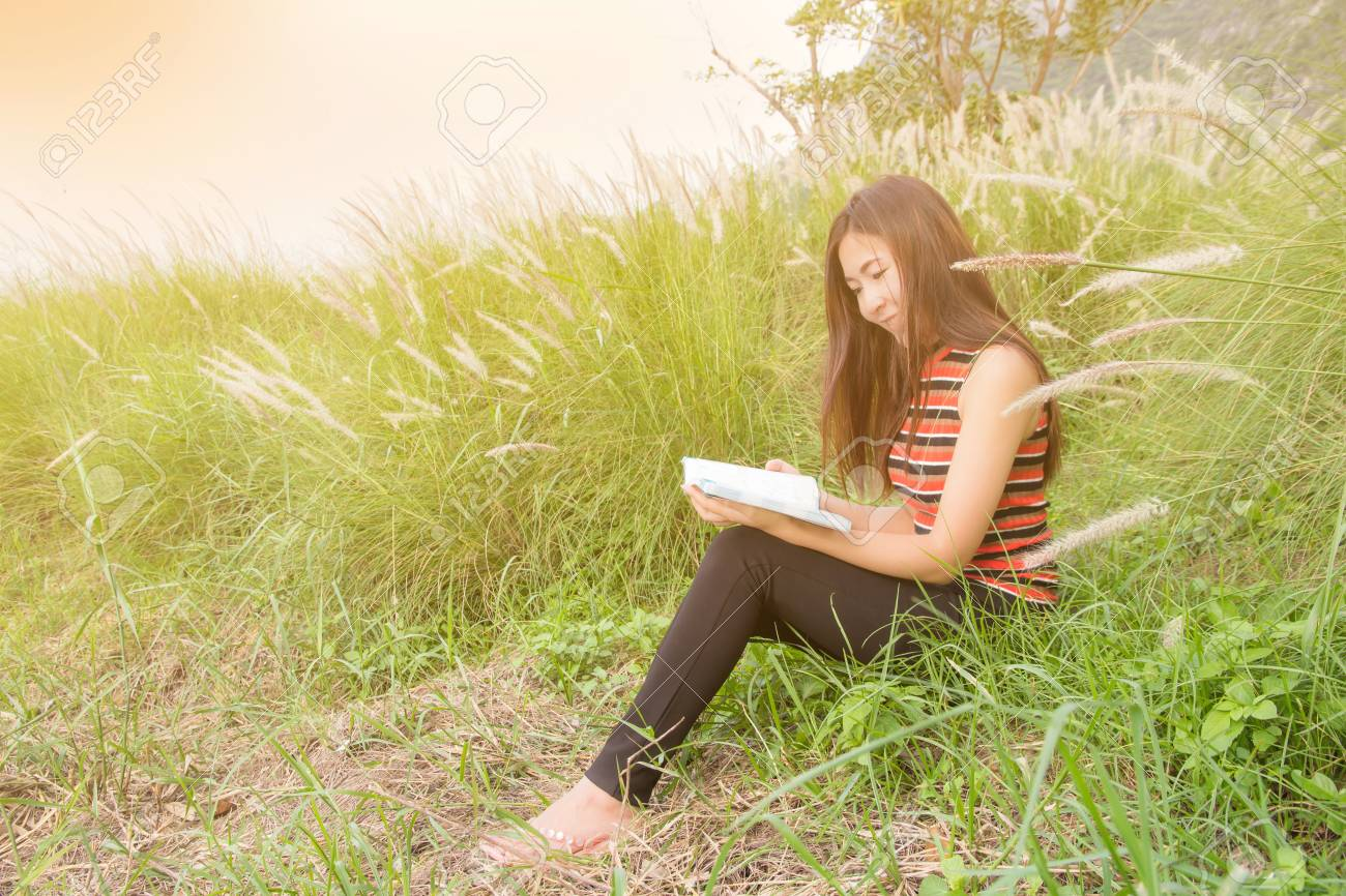 Beautiful Young Woman Sitting Read Book In Nature Free Happy