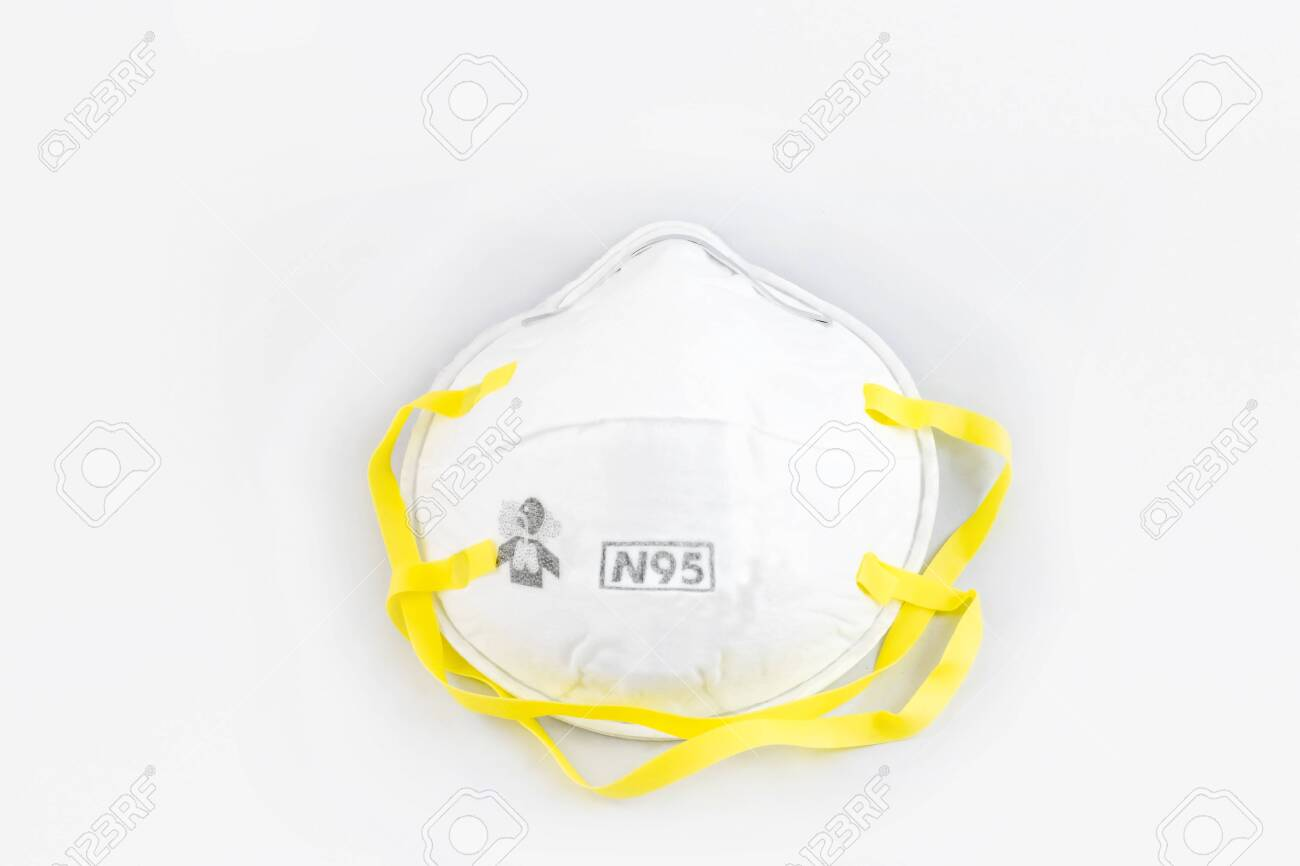 Protection respirator for Filter face mask safeguard on white background - 131912234