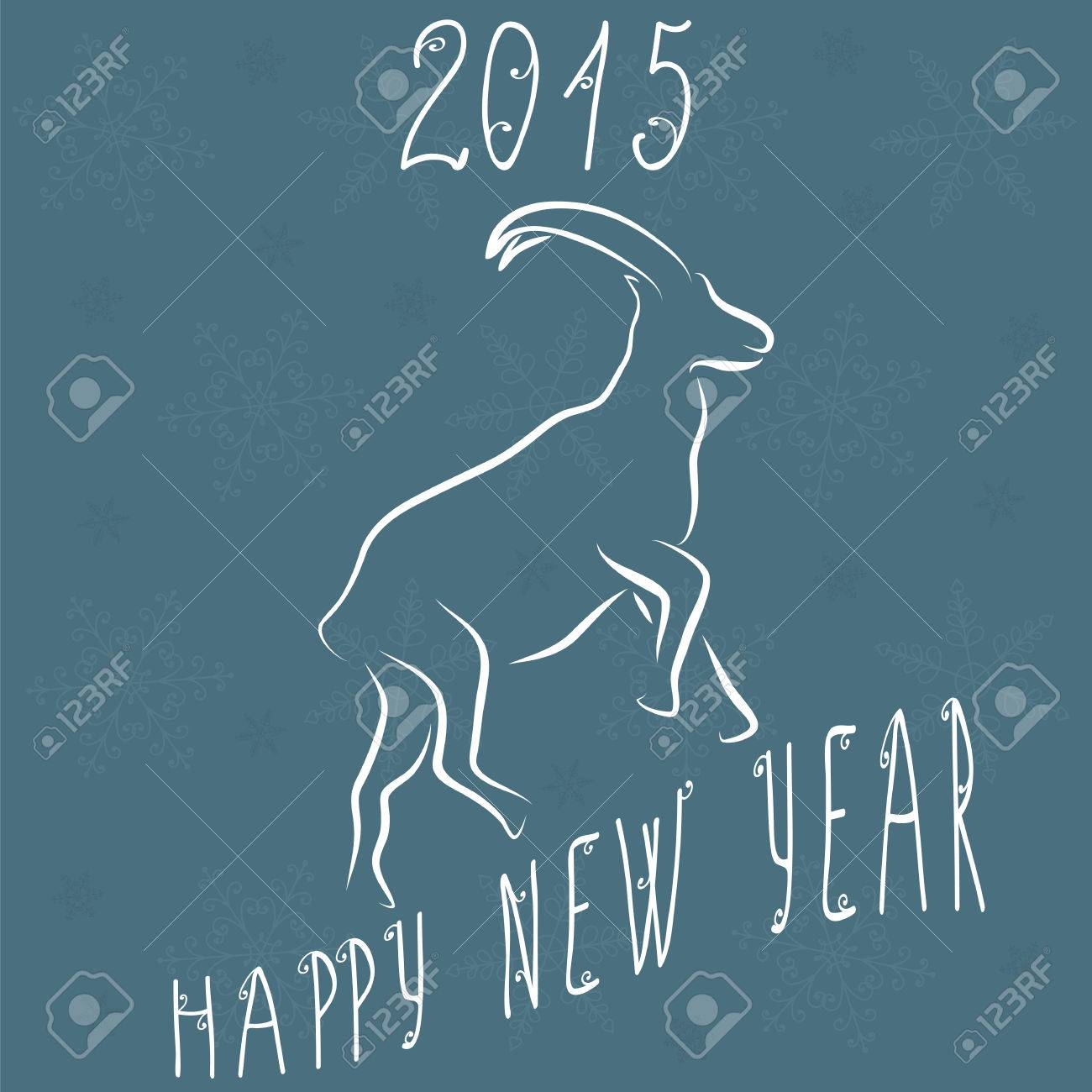 2015 new year card with goat happy new year vector illustration stock vector