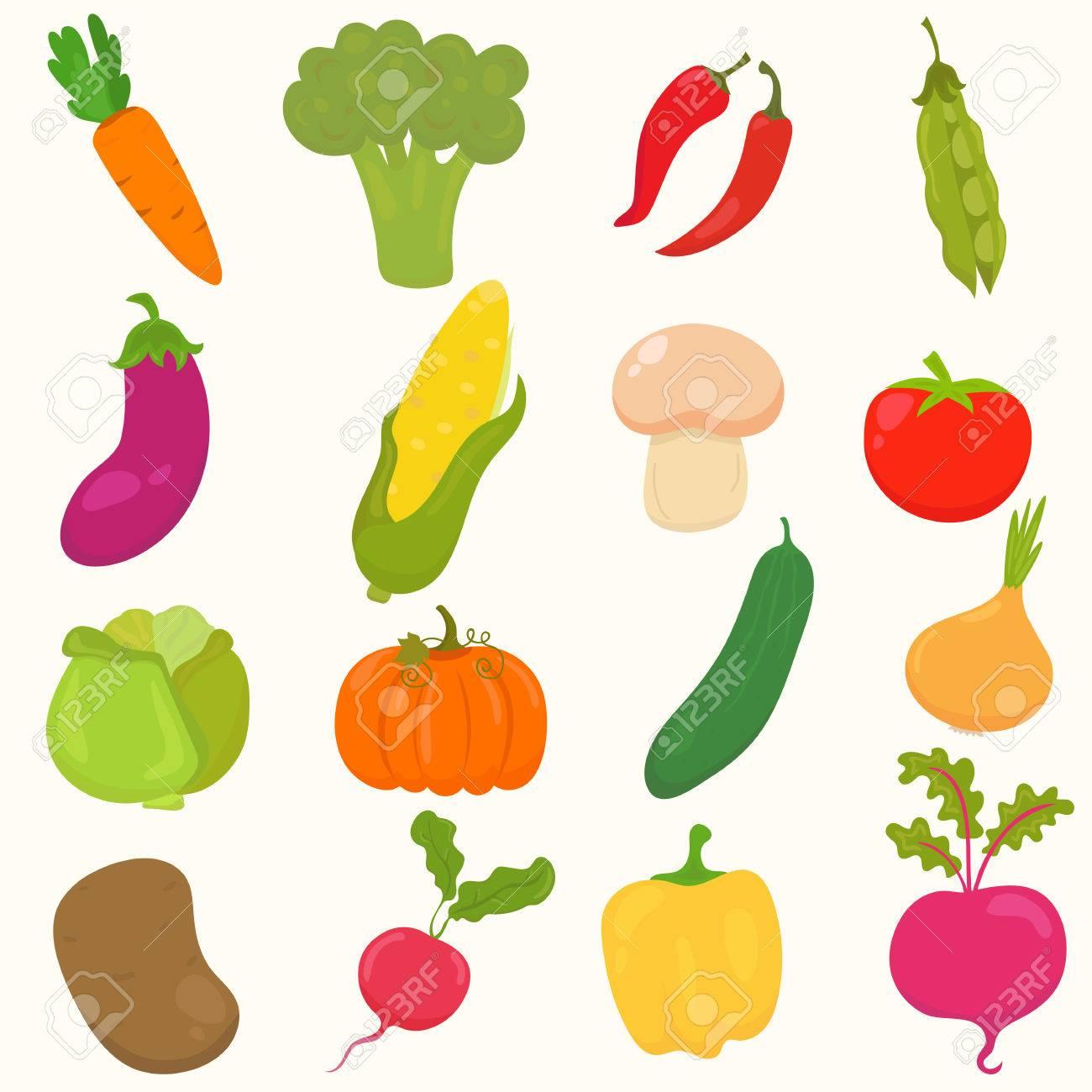 Conjunto De Dibujado A Mano Verduras De Dibujos Animados Ilustración Vectorial