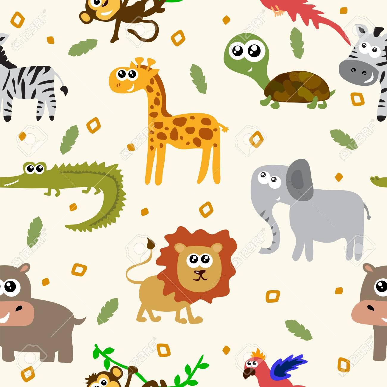 17350a317114c Animales africanos sin patrón. Animales infantiles de dibujos animados.  Ilustración vectorial Foto de archivo