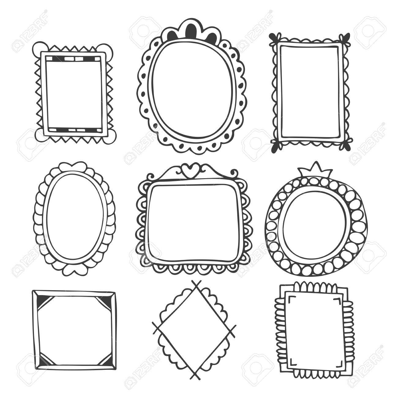 Collection Of Hand Drawn Frames. Vintage Photo Frames. Vector ...