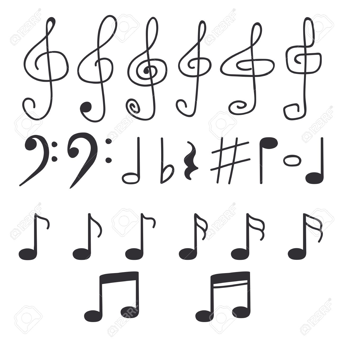 Set Of Hand Drawn Music Notes Vector Illustration Royalty Free