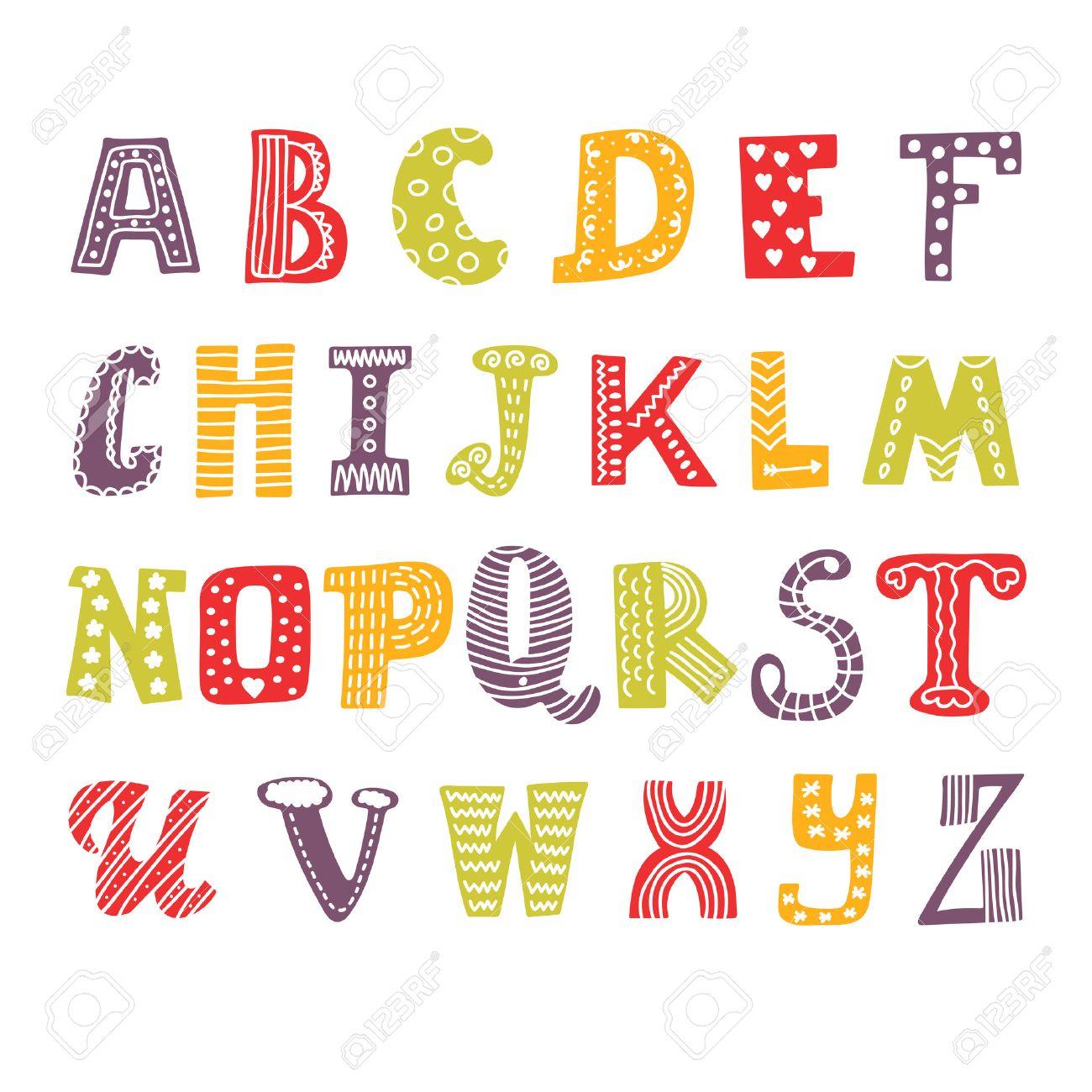 かわいい手図面アルファベット。面白いフォントです。手描きデザイン