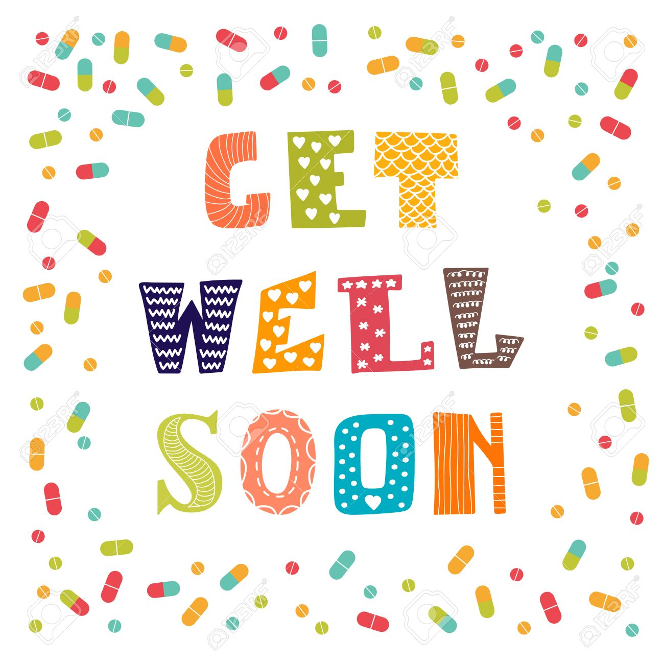 Get Well Soon Card With Pills Greeting Card Vector Illustration