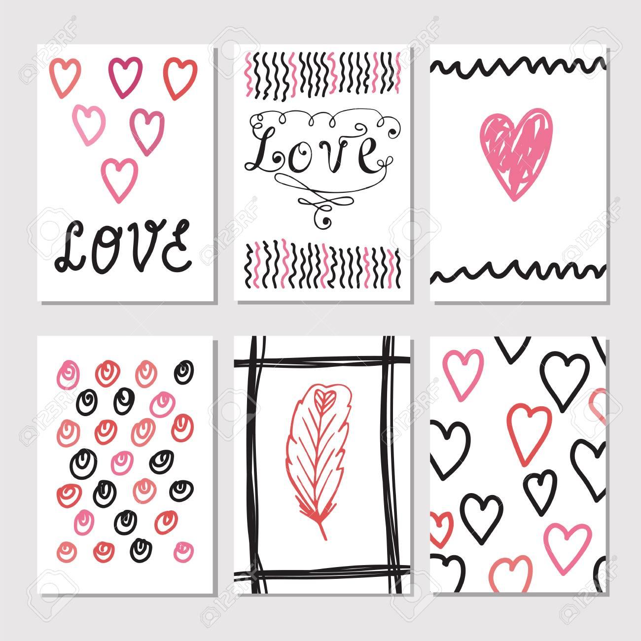 Conjunto De Tarjetas De La Vendimia Con Texturas Dibujadas A Mano Romántico Tarjetas Creativas Con Diseño Tema De Amor Colección De Folletos